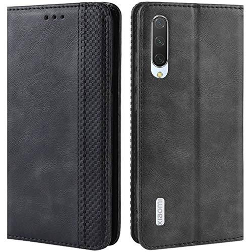 HualuBro Handyhülle für Xiaomi Mi A3 Hülle, Retro Leder Brieftasche Tasche Schutzhülle Handytasche LederHülle Flip Hülle Cover für Xiaomi Mi A3 - Schwarz