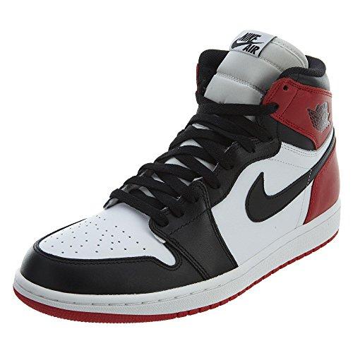 Nike Mens Air Jordan 1 Retro High OG Black Toe White/Black-Gym red Leather Basketball Shoes Size 10