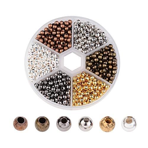 SHANGUP 948 Stücke Gemischte Armband Lose Perlen Spacer Schmuckherstellung Tube Crimp Perlen Messingperlen Makramee Zwischenperlen Spacer Beads Perlen für DIY Schmuck Machen