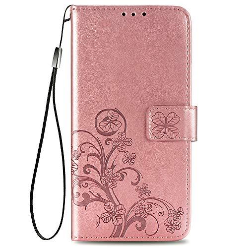 ALAMO Vier Klee Hülle für Samsung Galaxy S21 Plus (S21+), Premium PU Leder Handyhülle mit Kartensteckplätze - Roségold