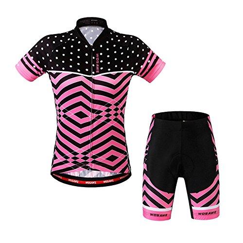 LSKCSH Ciclismo de Las Mujeres Transpirable Jerseys de Secado rápido Conjunto Ciclismo Jersey de Ciclo de Manga Corta Chaqueta 4D Amortiguador Acolchado Pantalones Cortos Apretados (Conjunto, M)
