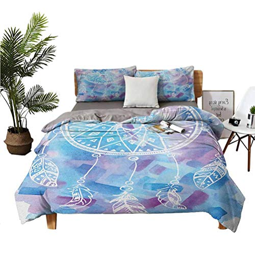 LANQIAO Extra Large Duvet Cover Abstract Dream Catcher with Watercolor Background Artistic Brushstrokes,Fun Gift 104x89 inch