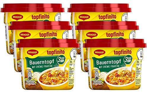 Maggi Topfinito Bauerntopf mit Creme fraiche, fertiger Kartoffel-Eintopf mit Bohnen & Paprika, herzhaftes Mikrowellengericht, 6er Pack (6 x 380g)