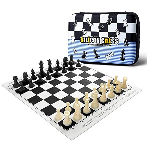 YWTT Chess Set - Silicone Chess Board Game for Kids and Adults, Portable Travel Food Grade Chess Folding Checkers Set with Carrying Bag for Beginner(15.5'x 14')