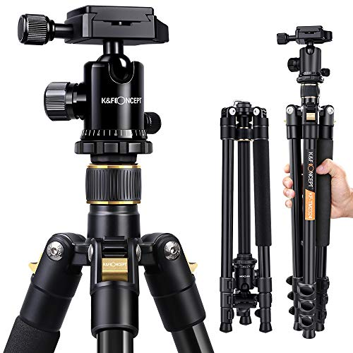 K&F Concept 62'' DSLR Tripod, Lightweight and Compact Aluminum Camera Tripod with 360...
