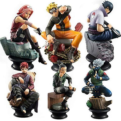 6pcs/Set Naruto Figurine Chess PVC Anime Naruto Sasuke Gaara Figure Kakashi Action Figures Uchiha Decoration Collection Toys (Color : 6pcs No Box)