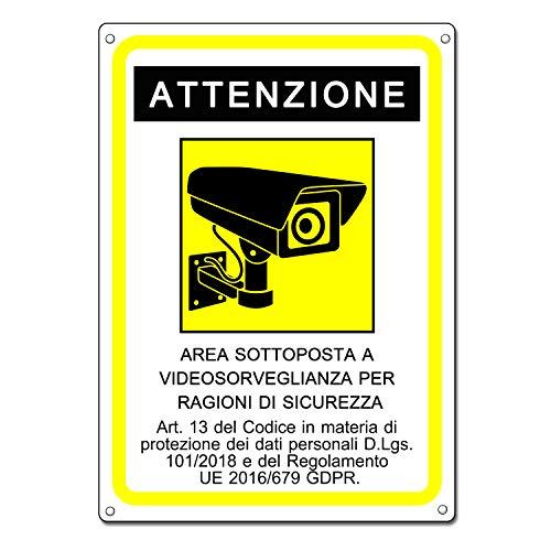 Cartello area videosorvegliata - Telecamera videosorveglianza per negozio e proprietà privata - GDPR 2020 - plastica (20x15 cm) (1 Pezzo Cartello Area Videosorvegliata)