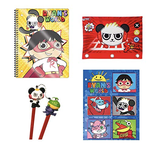 Ryans World School Supplies Set, Pencil Holder, Folder, Notebook, Pencils