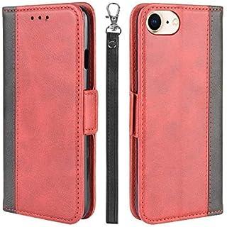 iPhone SE2 ケース 手帳型 iPhone8 ケース アイフォン7 6 6s カバー 財布型 サイドマグネット式 ストラップホール Qi充電対応 横置き機能 カード収納 高級PUレザー XJUN ワインレッド-4d29