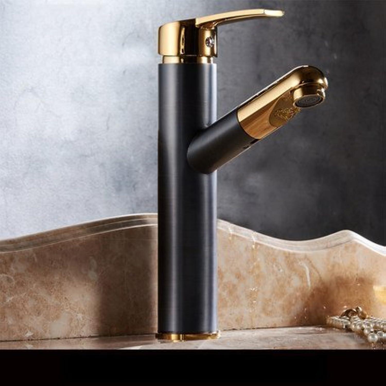 Stil Waschbecken Wasserhahn Orb Goldene Farbe Mischbatterien einzigen Griff herausziehen und kalten Wasserhahn, C