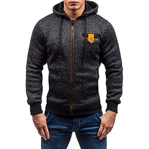 FRAUIT Herren Einfarbig Sweatjacke Kapuzenjacke Hoodie Männer Sweatshirt Pullover Jacke Sweatjacke mit Kapuze Reißverschluss und Fleece-Innenseite Top Outwear Bluse 100% Baumwolle