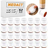 52 PCS Silicone Chair Leg Protectors with Felt for Hardwood Floors, NEOACT Silicone Furniture Leg Cover Pad for Protecting Floors from Scratches and Noise, Smooth Moving for Chair Feet.