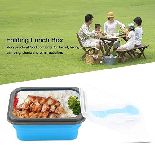 Práctica caja Bento plegable a prueba de calor conveniente 600ml no tóxico para picnic(blue)