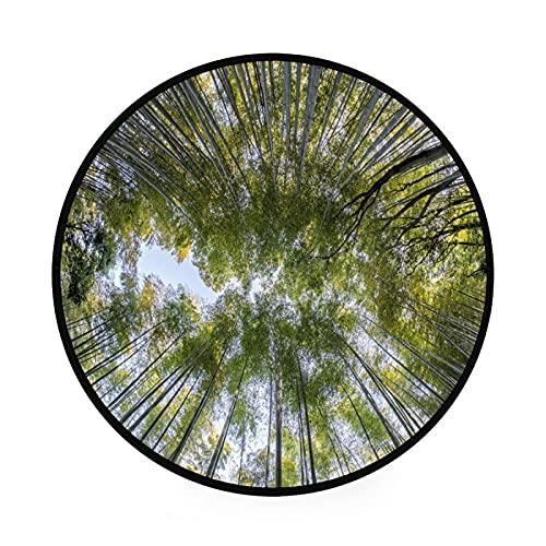 Alfombra redonda de bambú verde de 3 pies de superficie redonda suave para interiores a prueba de manchas, tapete redondo para sala de estar, dormitorio
