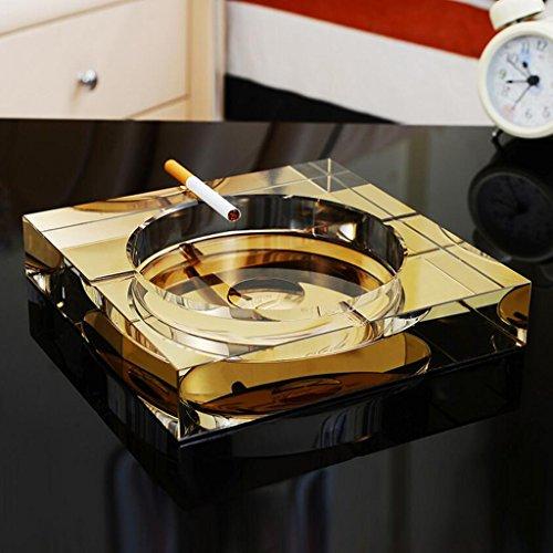 Rollsnownow Gold Kristall Glas Aschenbecher kreative Persönlichkeit Geschenk Außendurchmesser 15 * 15 * 3 cm, Innendurchmesser 11 * 11 * 2 cm