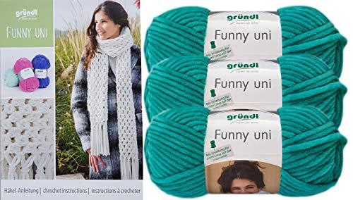 Gründl Funny 3x100g Softgarn SB Pack inkl. Häkelanleitung Schal gehäkelt mit Fransen aus 100% Polyester (3er Set 15 Smarad) + 1 Anleitung Funny Bunny