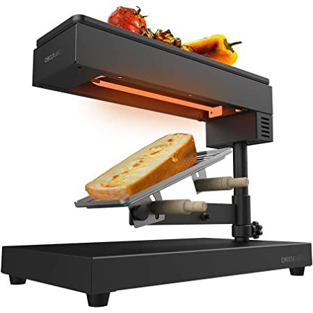 Cecotec Raclette traditionnelle Cheese&Grill 6000 Black. Puissance de 600W, Fonction gril, Acier inox, 2 Spatules en Bois, Thermostat réglable