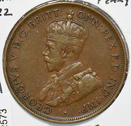 1922 AU Australia 1922 Penny 192573 DE PO-01
