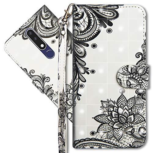 MRSTER Funda para Nokia 3.1 Plus, 3D Brillos Carcasa Libro Flip Case Antigolpes Cartera PU Cuero Funda con Soporte para Nokia 3.1 Plus 2018. YX 3D Lace Flower