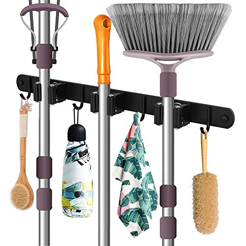 Mop Holder MerryBIY - Soporte de pared para escobas y utensilios de...