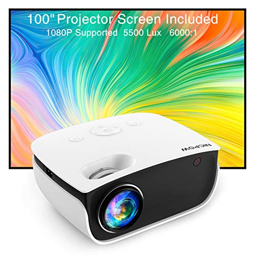 Video Projector,NICPOW 5500L Projector with 100Inch Projector Screen,1080P Supported Outdoor Movie Projector,Compatible with Fire Stick,PS4,HDMI,AV