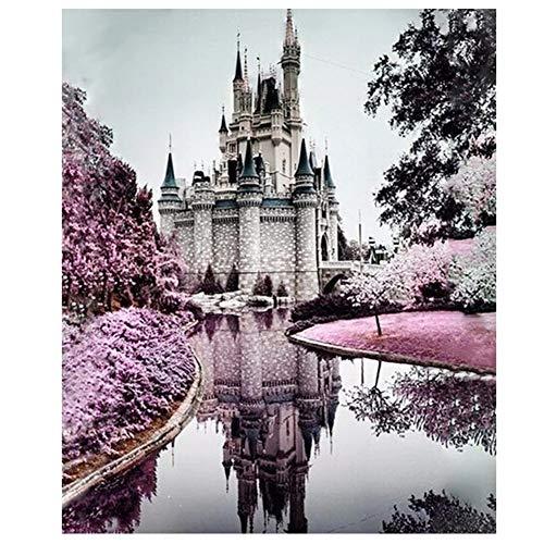 5D DIY Diamante Pintura Por Número Kit, Hermoso paisaje del castillo DIY Diamante Pintura Diamantes De Imitación Bordado Punto De Cruz Arte Artesanía Decoración De Pared 40x80cm