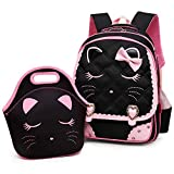 Efree Cute Cat Face Bow Diamond Bling Waterproof Pink, Black Set, Size Large