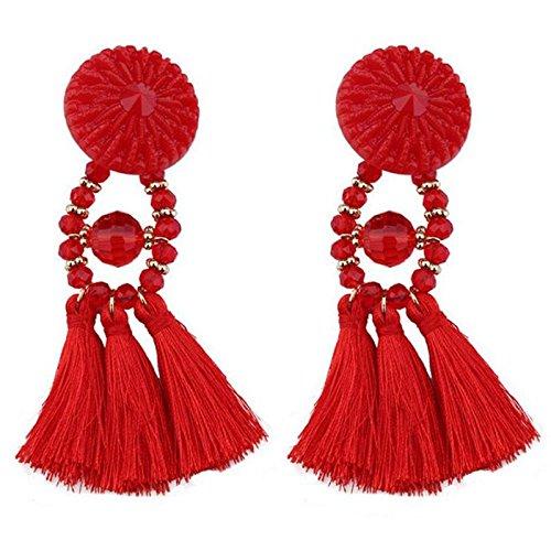 TOOGOO Orecchini da donna Nuovo stile Lungo Nappa Stile Fiore Orecchini con frange Ciondolo Gioielli da sposa Regali di compleanno rossi