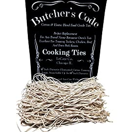 Rotisserie Elastic and Cotton Blend - Stretchy Twine - Food Grade - Heat Safe - Cooking Ties - Poultry Loops - 50 Pack 1 BUTCHER'S CODE - Makes a great replacement tie for the ties you got with your original rotisserie or grill ELASTICATED - Our food grade cotton/elastic ties are 7'in and, can stretch 360% its size to a 25'inch diameter. VERSATILE - Our ties can be used in an oven, rotisserie, grill, and even fryer. These ties can stand temps up to 500 degrees
