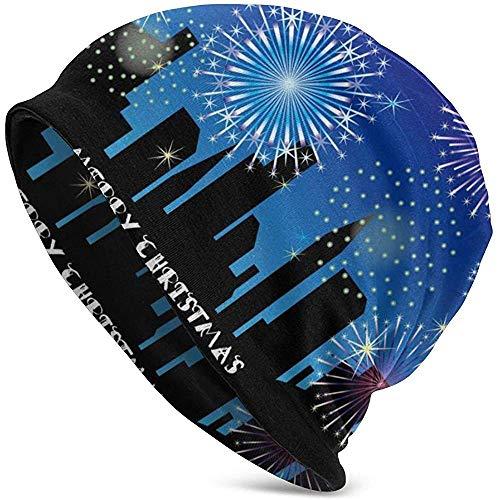 GodYo Mooie stad vuurwerk kerstmuts hoed lichte baggy slouchy elastische turban voor mannen en vrouwen hoofdwraps