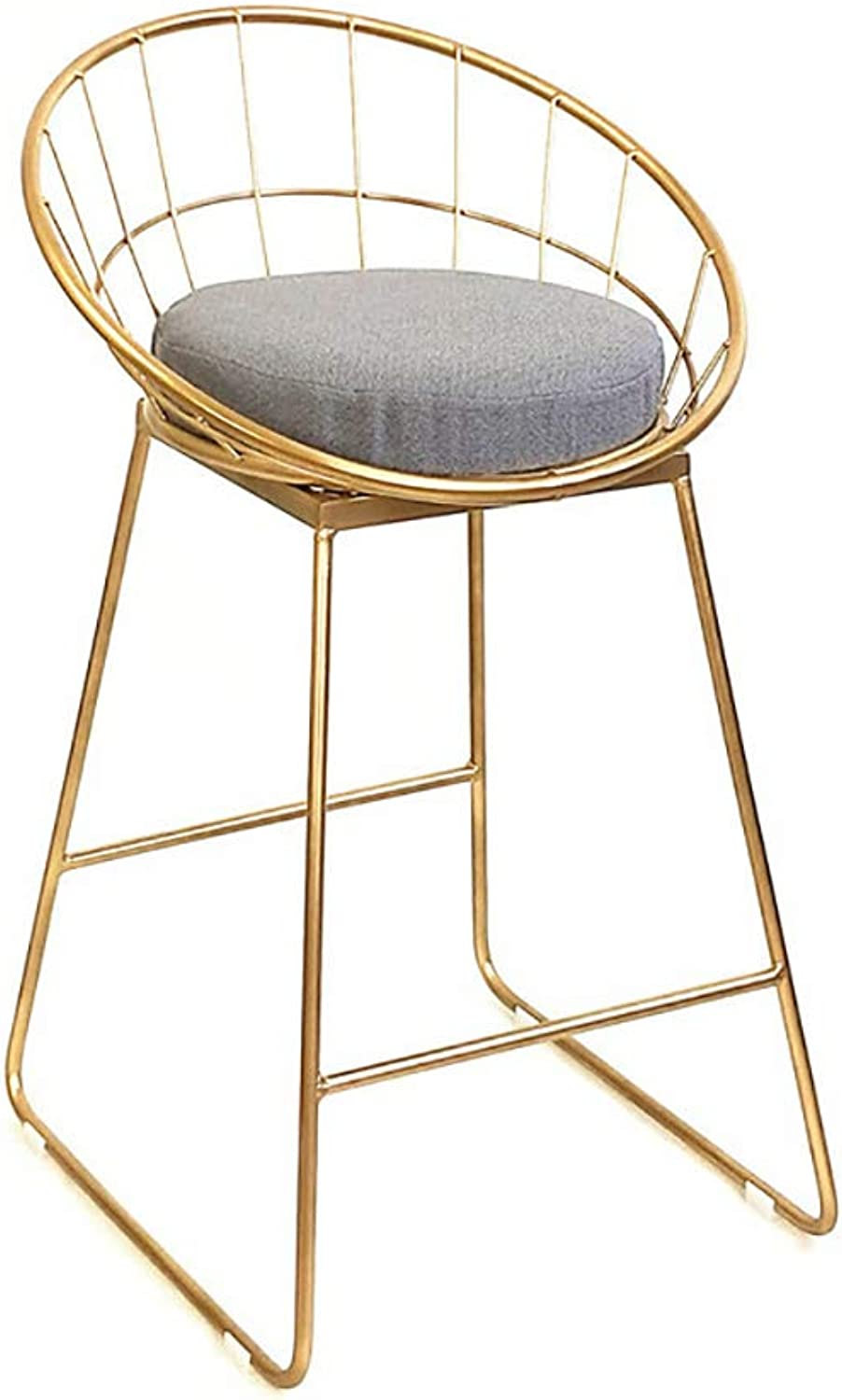 Modern Bar Stools, Simple Metal Wire Bar Chairs with Back and Linen Cushion, Pub Kitchen Dining Chair, High Stool (gold),SittingHeight45cm
