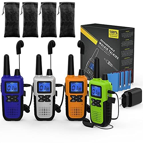 4 Long Range Walkie Talkie Rechargeable für Erwachsene - PMR446 Funkgerät Walkie Talkie 4er Set Aufladbar - Long Distance Walkie-Talkie mit Akku Headset und Mic Set USB Ladegerät Schlüsselband