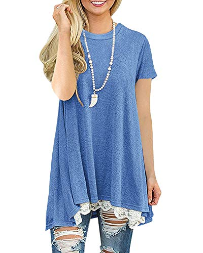 Tshirt Damen Sommer Tunika Lange Bluse Lose Elegant Shirt (Blau L)