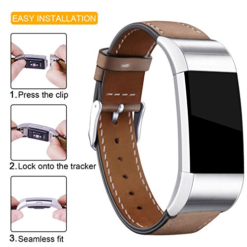 Hotodeal Replacement Leather Band Compatible for Charge 2, Classic Genuine Leather Wristband Metal Connector Watch Bands, Fitness Strap Women Men Small Large (Light Brown- Silver Buckle) 4
