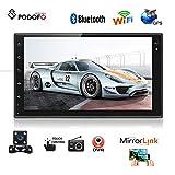 Podofo Autoradio Android 8.0 Autoradio Doppel-Din Auto DVD-Player mit Lautsprecher 7 Zoll Touchscreen Kopfeinheit Lenkradsteuerung GPS Navigation WiFi Bluetooth mit Rückfahrkamera
