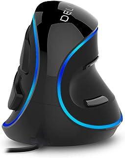 DELUX Vertical Mouse, Ergonomic Mouse with Single Blue Lighting, 3 Adjustable DPI (600-1000-1600 DPI), 6 Buttons, Removabl...