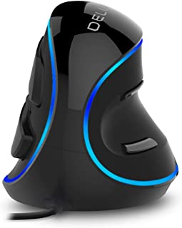Delux Ergonomic Vertical Mouse, Wired Optical Mouse with 3 Adjustable DPI (800/1200/1600DPI), 6 Buttons and Removable Wrist Rest for PC Computer Laptop (M618Plus Single Color (Blue LED)-Black)