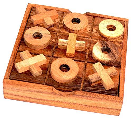 Tic Tac Toe Box, Knobelholz Strategiespiel Käsekästchen in Einer Holzbox mit X und O EIN Spiel für 2 Spieler Kinderspiel Gesellschaftsspiel Brettspiel