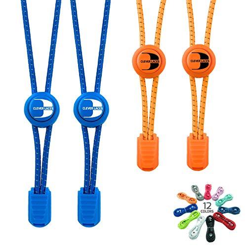BERTONY CLEVER Laces #1 Running Elastische Schnürsenkel mit Schnellverschluss, Runde Reflektierende Gummi Schuhbänder, Schwarz & Bunt, Kinder & Erwachsene (Royal Blue/Neon Orange)