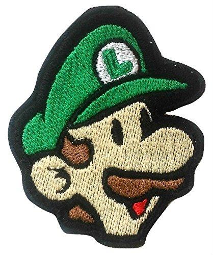 Luigi Patch (9 cm) Super Mario Brothers geborduurd ijzer of naai op Badge Applique Souvenir Retro DIY Kostuum Wereld Kart Alle sterren Snes