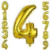 GWHOLE Globos Número 4, Globo Color Oro Globo Grande de Aluminio 1 2 3 4 5 6 7 8 9, Globos para Fiestas de Cumpleaños, Aniversario