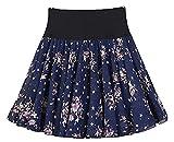 BigForest Femme Summer High Waist Tutu Skirt Jupe Floral Print 2 Layers Chiffon Swing Beach Boho Mini Skirt Jupe
