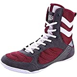 VIIPOO Zapatos De Lucha para Hombres, Zapatos De Boxeo Transpirables High-Spop Professional Wrestling Zapatos De Entrenamiento,Red-6 UK