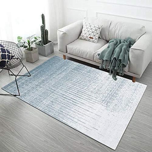 DLSM Alfombra Azul Claro Minimalista Moderna, Dormitorio, Pasillo, Cocina, Mesa de café, baño, Sala de Estar, Alfombra Decorativa-Los 80x160cm