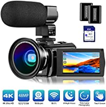 4K Camcorder Video Camera Vlogging Camera for YouTube Rosdeca Ultra HD 48.0MP WiFi Digital Camera IR Night Vision 3.0