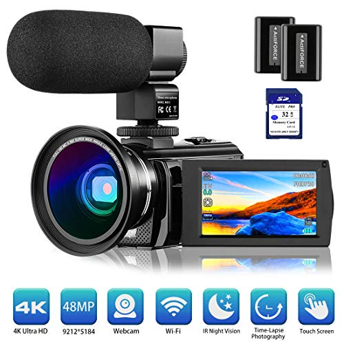 4K Camcorder Video Camera Vlogging Camera for YouTube Rosdeca Ultra HD 48.0MP WiFi Digital Camera IR...