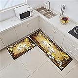 HLXX Alfombra de Cocina Moderna Alfombra de Entrada de Dormitorio de Tira Larga Felpudo 3D Animal Antideslizante Sala de Estar Balcón Alfombras Alfombra de Pasillo A9 40x60cm + 40x120cm