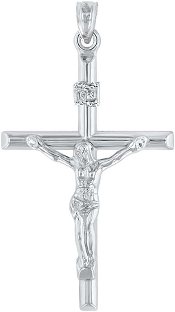 14K White Gold INRI Crucifix Tubular Simple Polished Cross Pendant