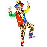 TecTake dressforfun Kinder-Teenkostüm Clown Sockenschuss | Buntes, wundervolles Kostüm | inkl. Schlapphut mit Blumen-Applikation (7-8 Jahre | Nr. 300802)