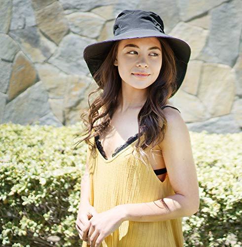 Womens Foldable Flap Cover UPF 52+ UV Protective Wide Brim Bucket Sun Hat Black